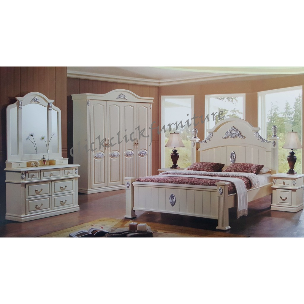 Classic Design Solid Wood Bedroom Set More Options Available Shopee Malaysia