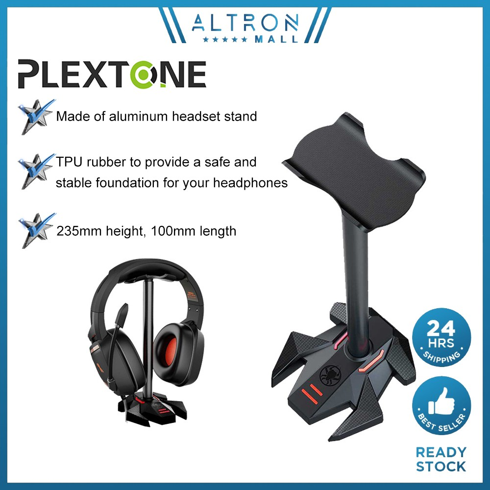 Plextone Headphone Stand Headset Holder Gaming Earphone Stand Aluminum Support Bar ABS Solid Base