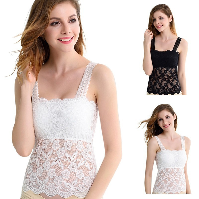 8fe5dbd9a1c Comeandbuy Women Fashion Lace Camisole Translucent Floral Tube Tank Tops