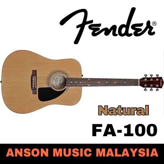 5c749f0366 Fender FA-100 Dreadnought Acoustic Guitar w/Gig Bag, Natural | Shopee  Malaysia