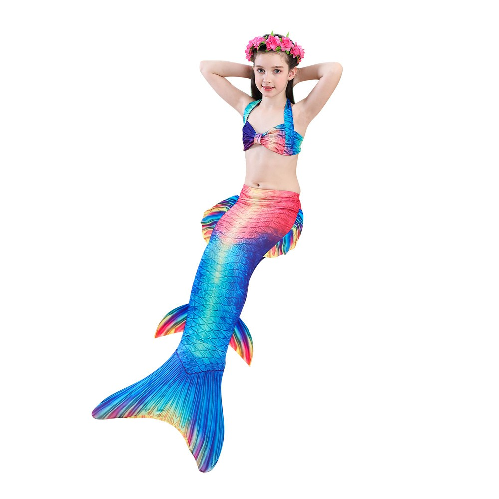 b2c232ad8b ProductImage. ProductImage. 3pcs Girls Kids Rainbow Mermaid Tail Bikini Sets  ...