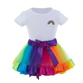 55a0f4f861623 Summer Girls Set Infant Kids Short Sleeve Top+Rainbow Skirt Two Sets ...