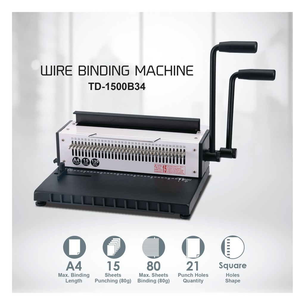 Wire Binding / Binder Machine TD-1500B34 (12sheets) | Shopee Malaysia