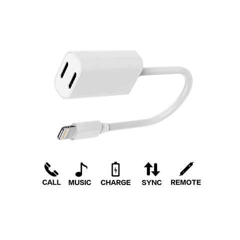 reputable site 1eab4 d3776 Dual Lightning Charge & Audio Sync Earphones Cable Adapter For IPhone 7 / 8  Plus
