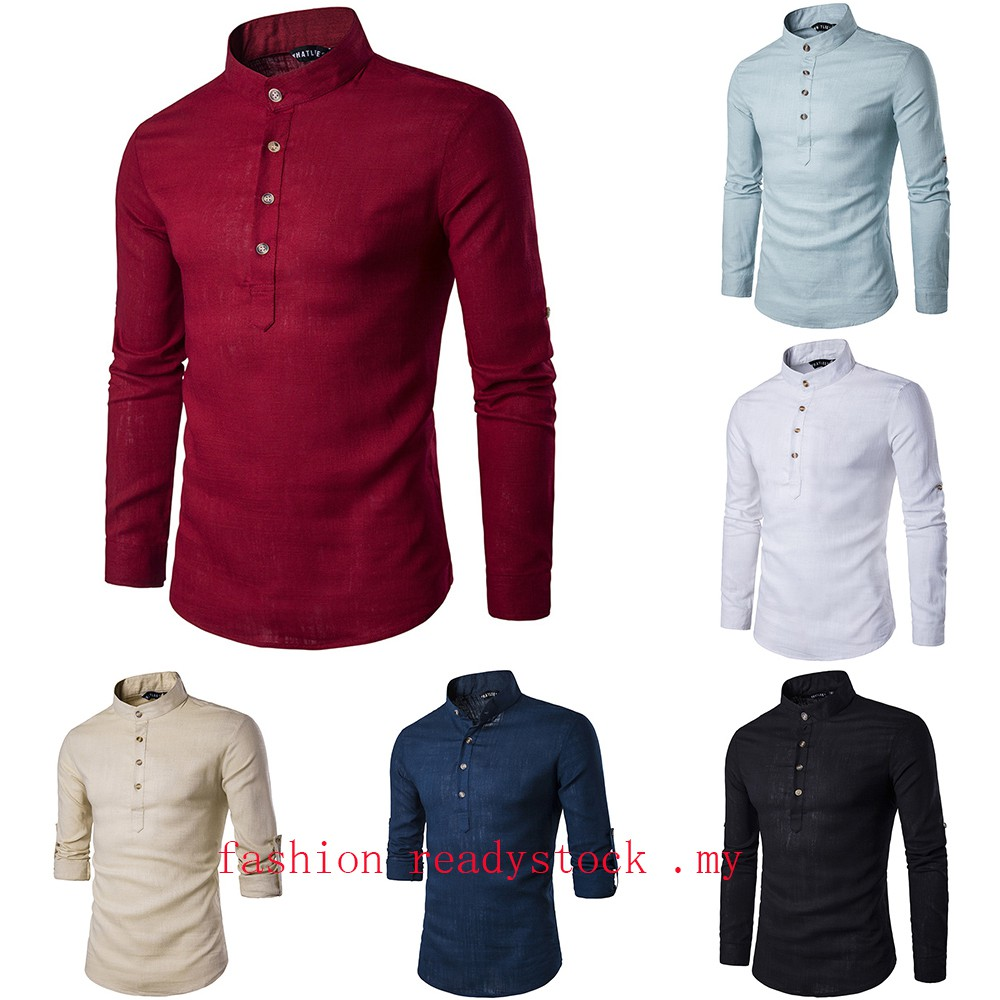 Kurta Top Casual Shirt Long Sleeve Men Women 2018 Design New Fashion Men Shirt Shopee Malaysia