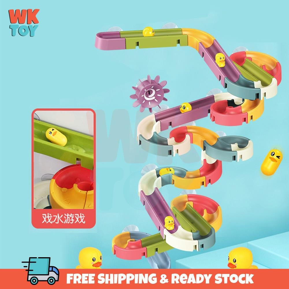 WKTOY Kids Shower Bath Toys Assemble Slide Track Set Duck Water Game Baby Gifts