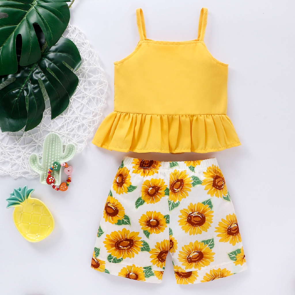 2PCs Summer Skirt Set Toddler Girls Frilly Short Sleeved Top Shirt with Sunflowers Skirt Dress 1-7Years BOBORA Baby Girl Clothes