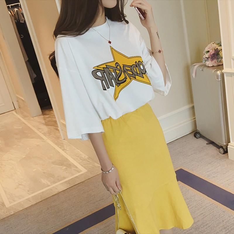 Womens Sets Two Piece Sets Plus High Waist Wide Ruffles Trim Pencil Skirts