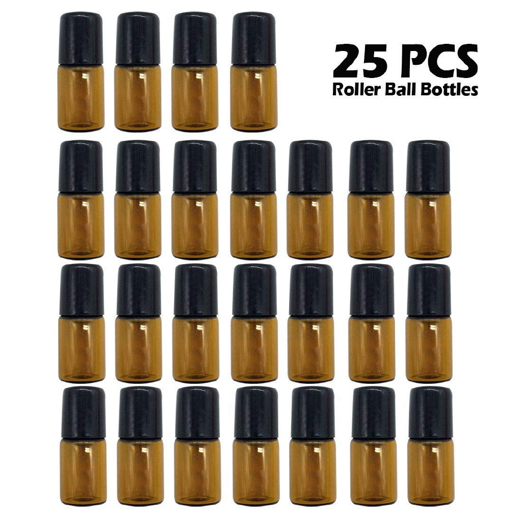 11f8ab26fb1b 25PCS 2ml Amber Mini Refillable Glass Roller Ball Bottles