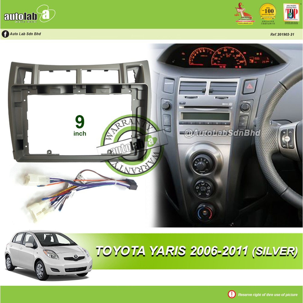 """Android Player Casing 9"""" Toyota Yaris 2006-2011 (Silver) with Socket Toyota CB-8"""