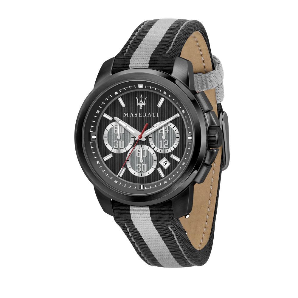 Maserati Royale Black & Gray Nylon Band Quartz Chronograph Watches R8871637002