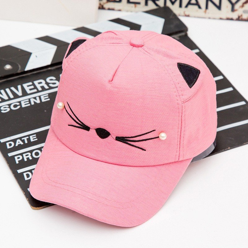 b1599bf5a Children's hat spring cat embroidery pearl ear baby cap boys and girls  cartoon