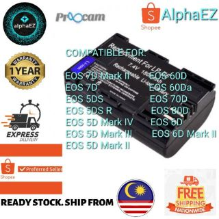 Proocam Canon Lp E6 Compatible Battery For Canon Eos 5d Mark Ii 5d Mark Iii 5d Mark Iv Eos 7d Eos 60d 70d 80d 6d 6d M2 Shopee Malaysia