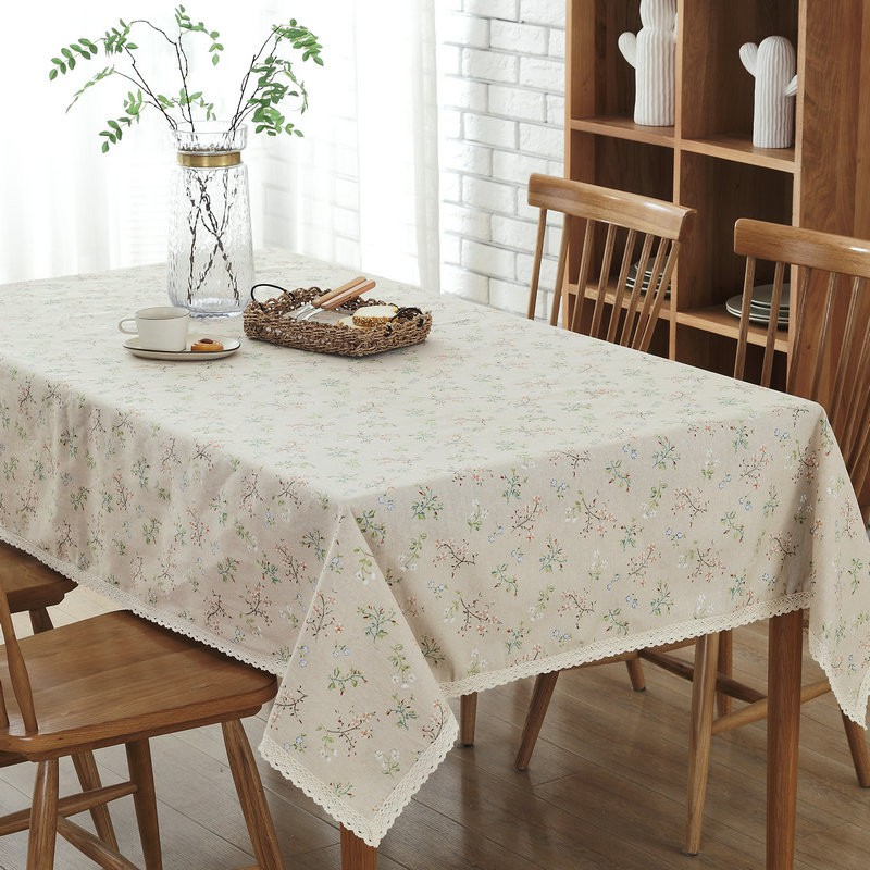 Vintage Floral Print Decorative Table Cloth Linen Cotton Lace Tablecloth Dining Table Cover For Kitchen Home Decoration Shopee Malaysia
