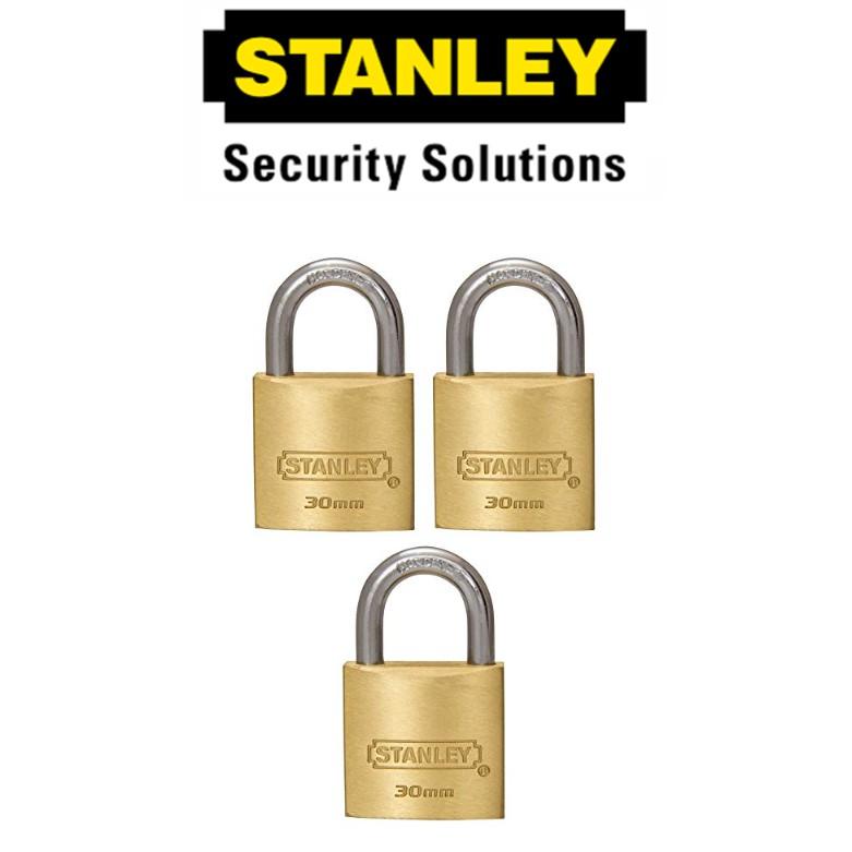 STANLEY STANDARD SHACKLE KEY ALIKE BRASS PADLOCK S827-414 30MM SECURITY LOCK