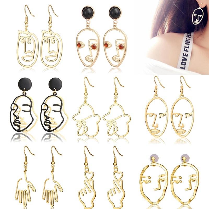 8fbc393ba37e2 Women Creative Hollow Human Face Palm Drop Earring