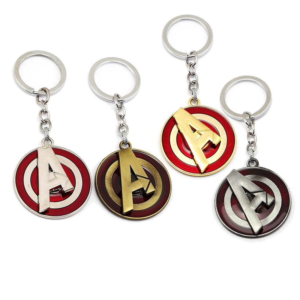 Marvel Avengers Captain Marvel Logo Rotatable Alloy Key Chains Keychain Keyring
