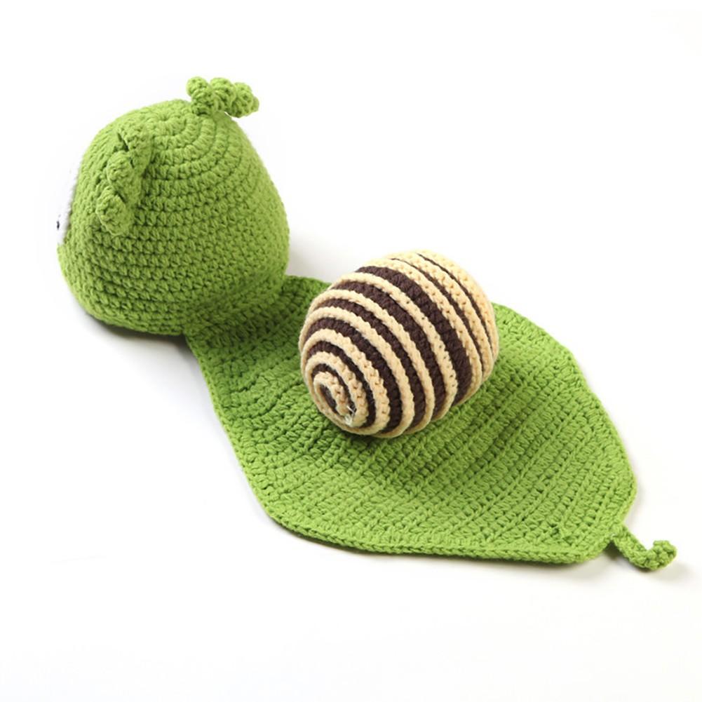a279f1bb9 1 Set Cute Green Snail Crochet Knitted Photography Props Newborn ...