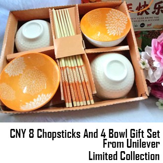 Limited Collection CNY 8 Chopsticks And 4 Bowl Gift Set From Unilever Gift Set