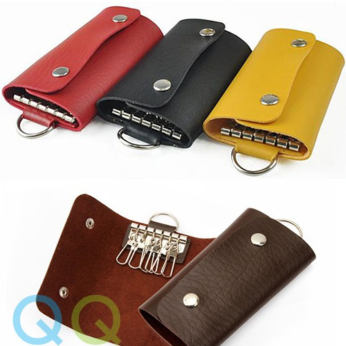 6 Colors PU Leather Wallet Keychain Pouch Bag Case Purse Keyring Key Holder