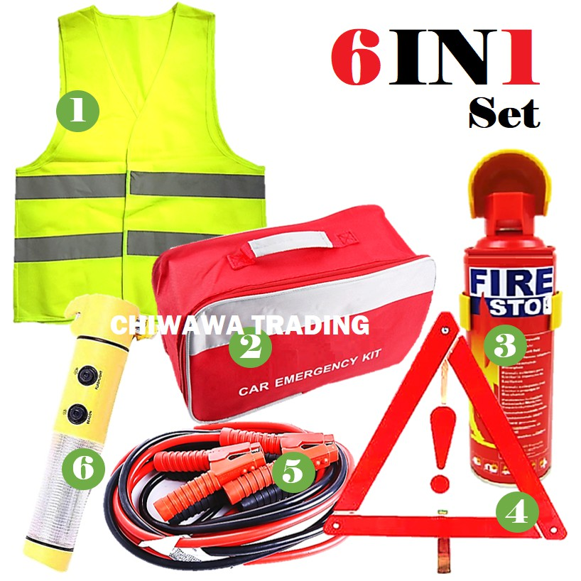 Car Safety Reflective Vest Triangle Fire Extinguisher Torch Hammer Jumper Cable