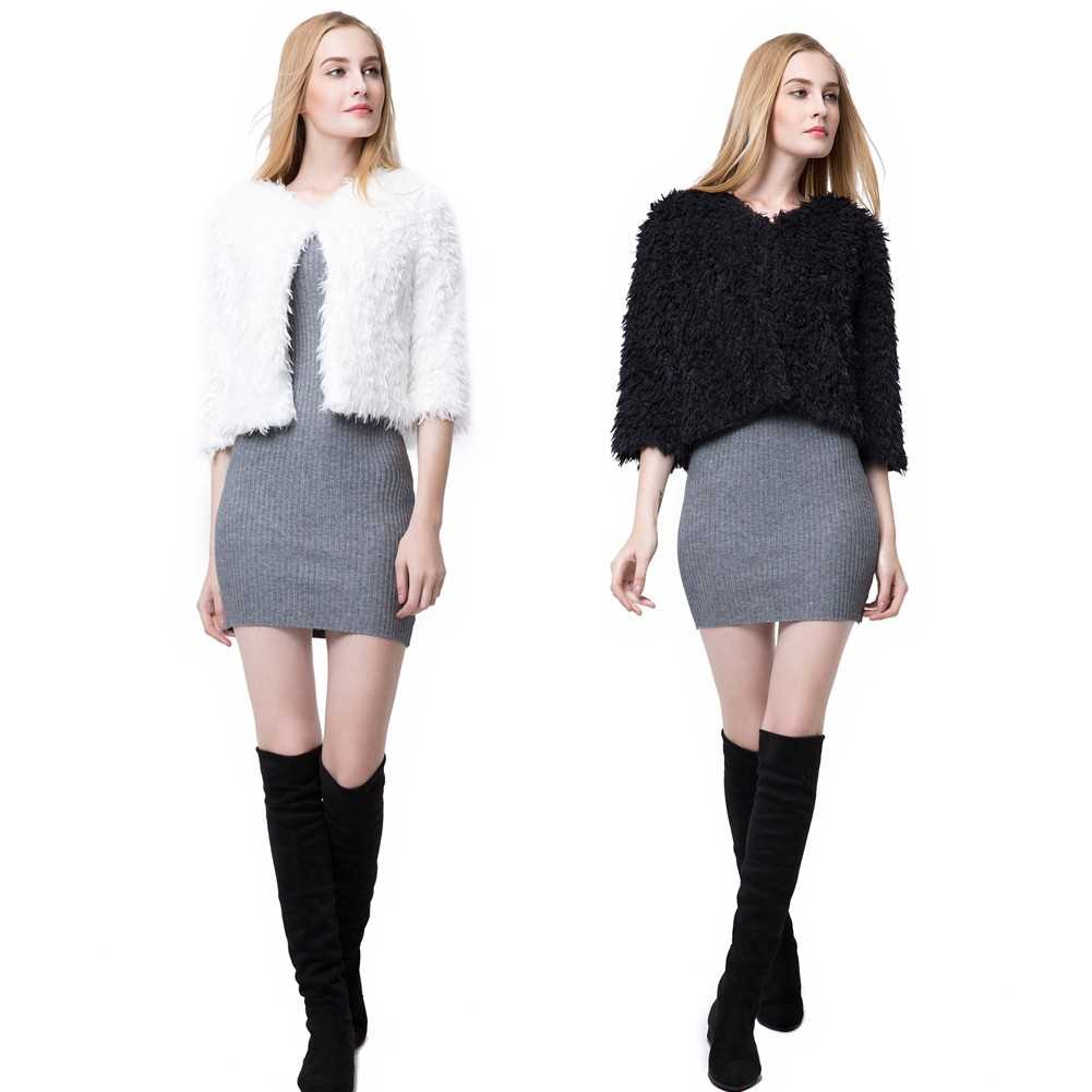New Women Winter Fluffy Shaggy Coat Faux Fur Round Neck 3/4 Sleeves Hook and Eye Outerwear White/Black (Black)