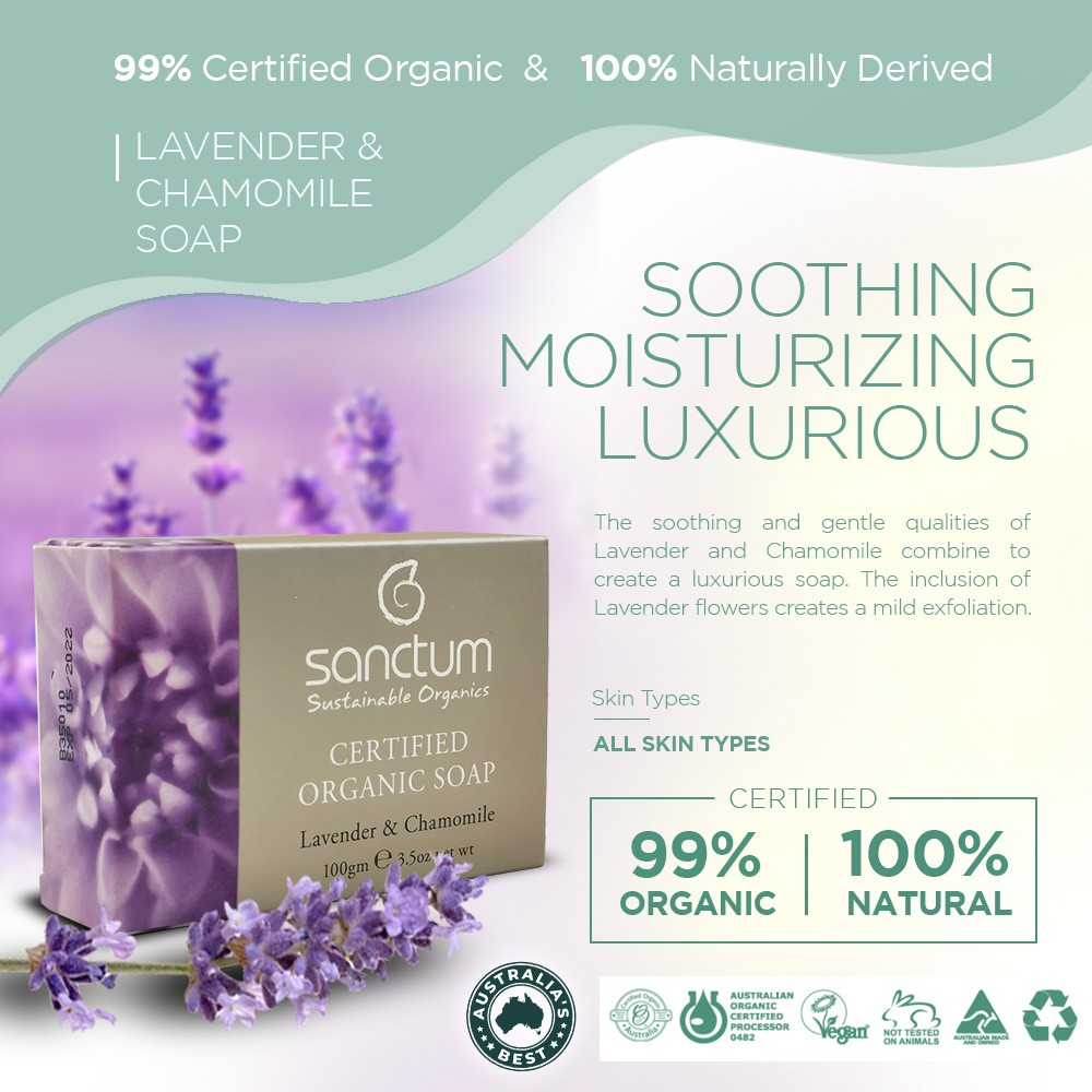 SANCTUM ORGANIC BODY SOAP TRIAL SET - Lavender Body Soap 100g + Rose Body Soap 100g | Daily Hydration & Mild Exfoliation
