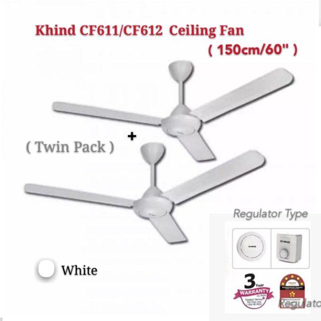 KHIND Ceiling Fan CF611 CF612 -150cm 60 inch - 3 Blades White (Twin Pack/2pcs)