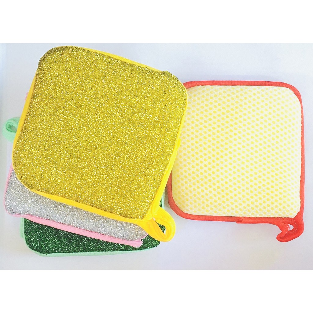 Double-Sided Dishwashing Sponge Scouring Pad Household Cleaning Wash Cloth
