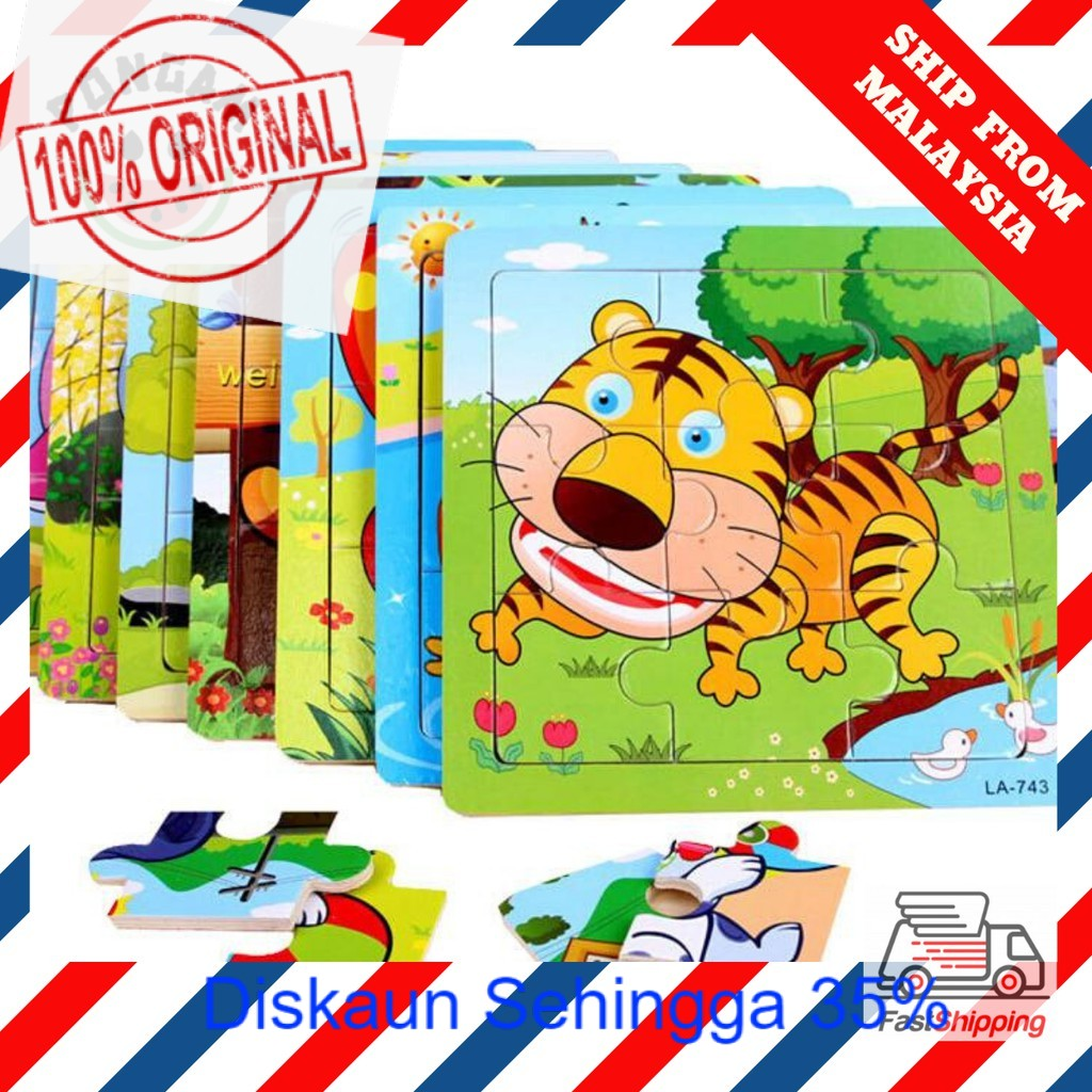 READY STOCK  9pcs Animal Wooden Jigsaw Puzzle for Kids Early Educational Toys Baby