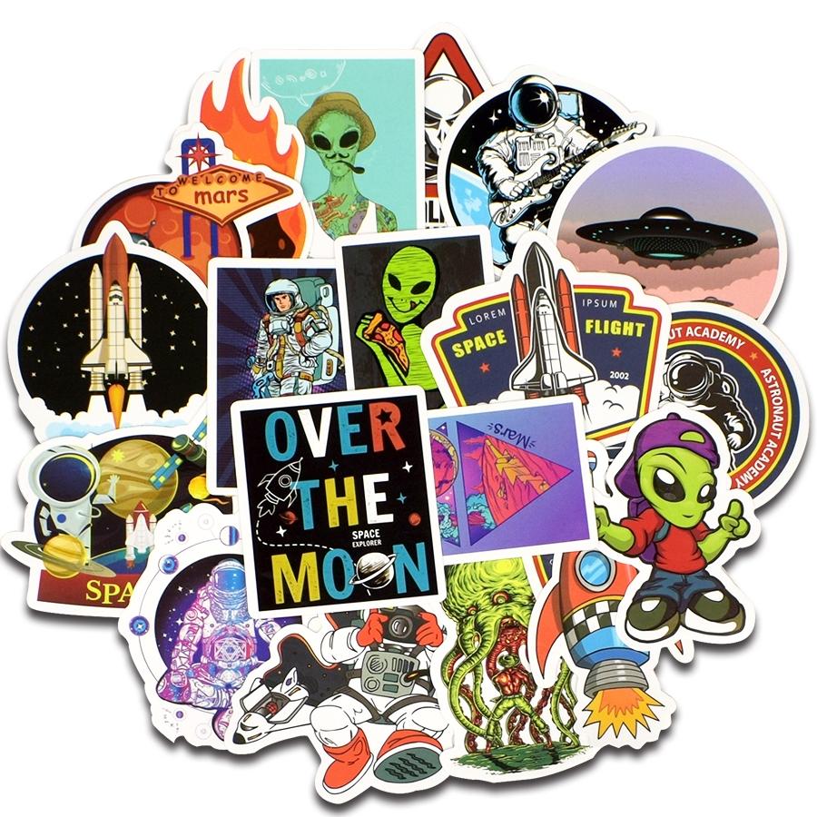 Cartoon UFO Mixed Kids Stickers 5 10 25 Alien ET Space Astronaut Rocket Stars