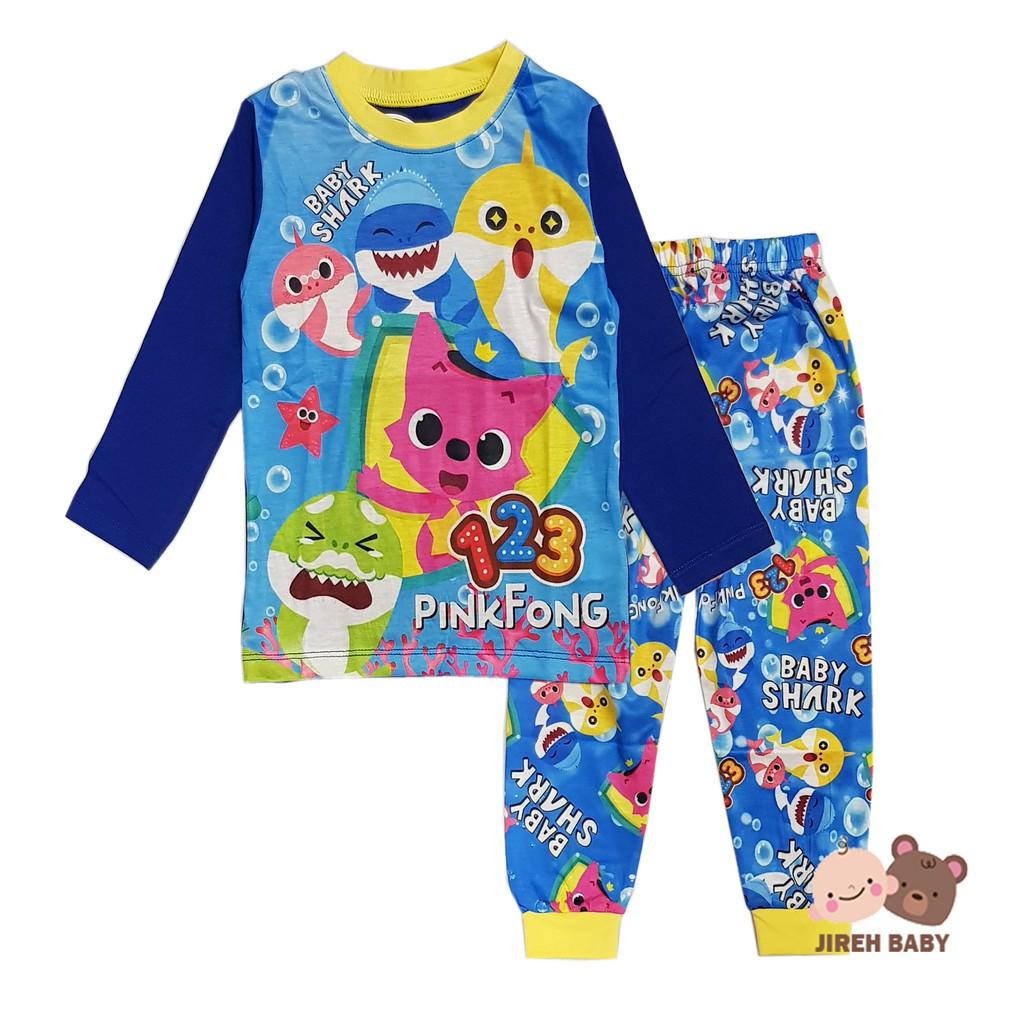 eec1b4858 READY STOCK!!! Baby Shark Girl Pyjamas Kid Pajamas Sleepwear Long ...