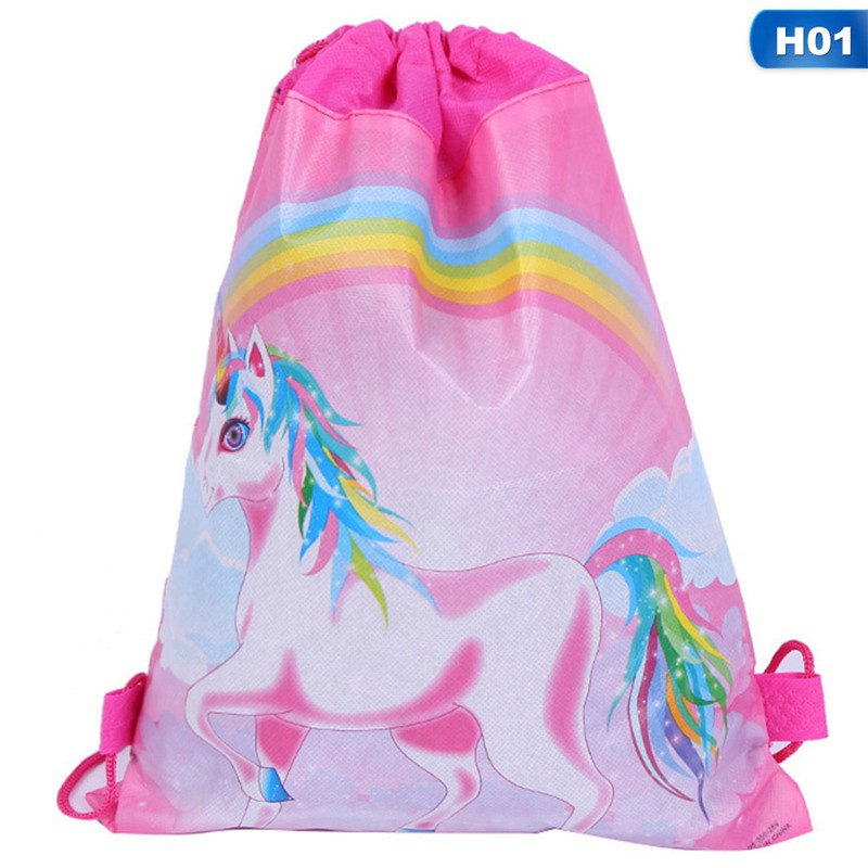 Kids Swimming Bag Drawstring Unicorn Cartoon Girls School Shoe Pink