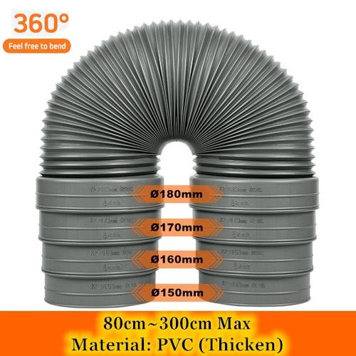Variable Diameter Hood Exhaust Pvc Ducting Hose - 80~300cm Length