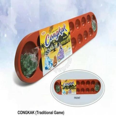 READY STOCK CONGKAK TRADITIONAL GAME (PLASTIK) FREE 2 PACK MARBLE,