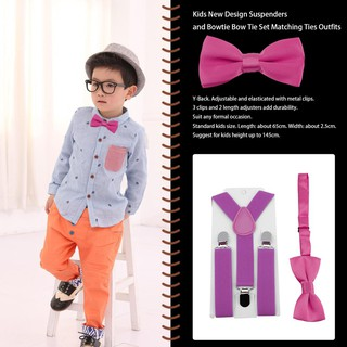 ff40bc585d43d 🍓Polyester Kids Design Suspenders and Bowtie Bow Tie Set Matching ...