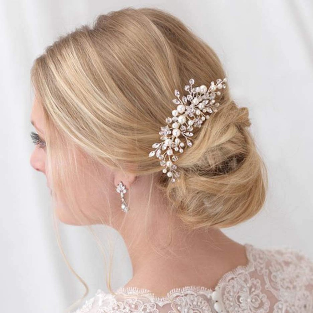 crystal beaded pearl hair comb women bridal wedding headpiece hair clip