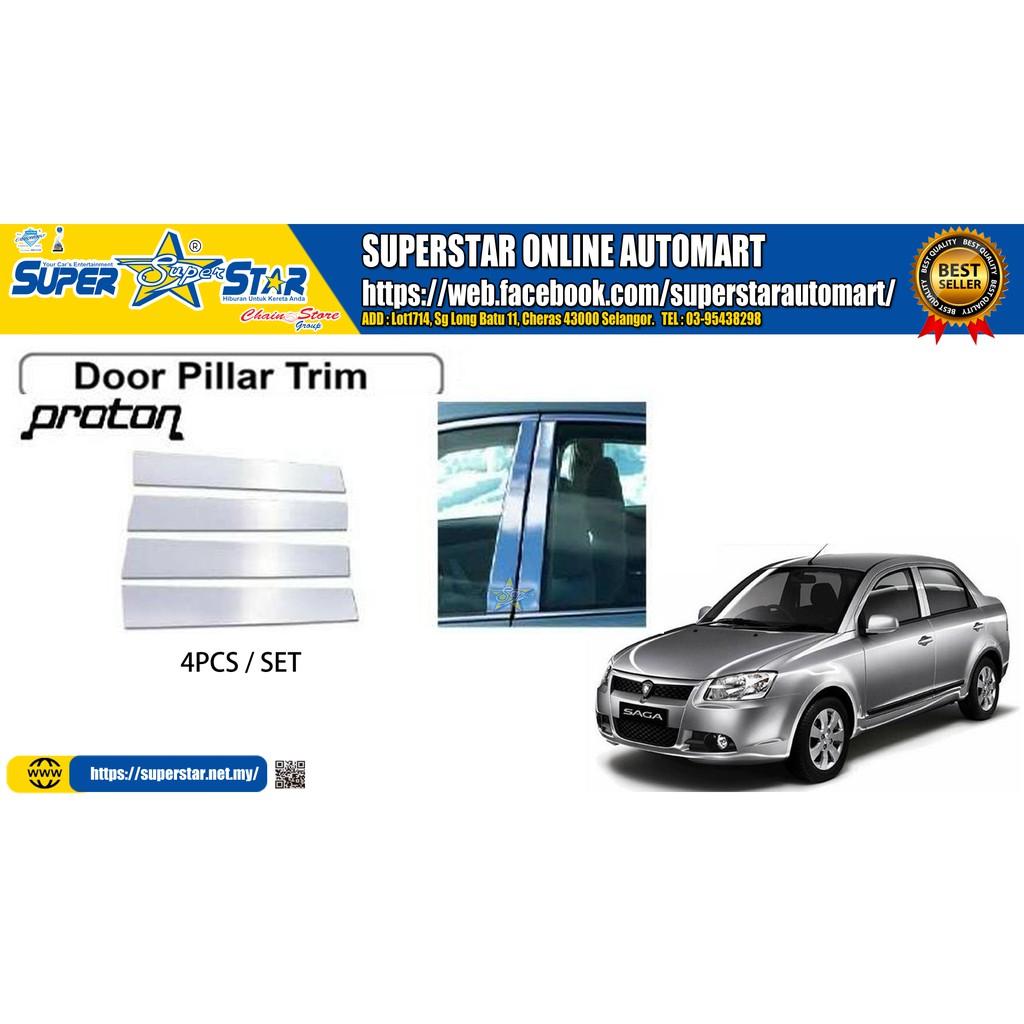 Proton Saga BLM FL FLX Chrome Door Window Pillar Trim Cover