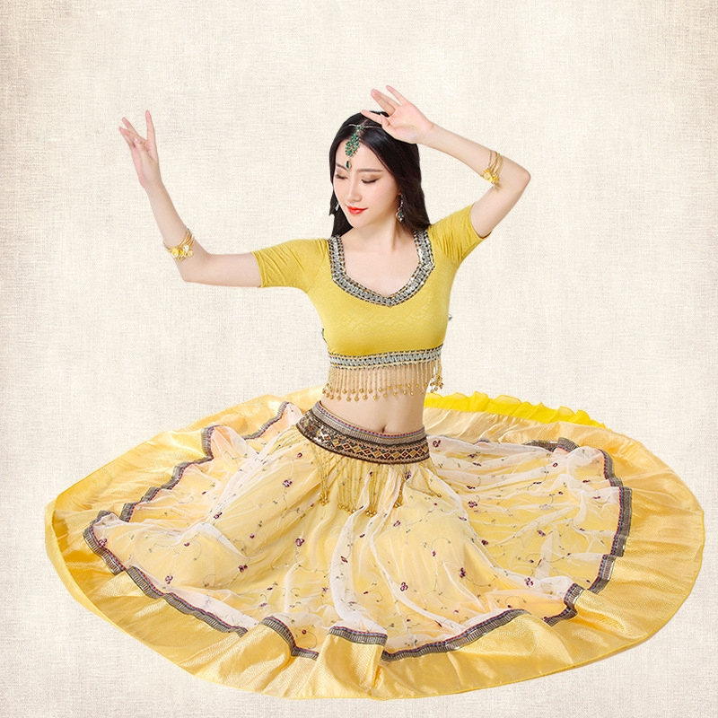 Stage Performance Women Belly Dance Clothes Indian Dance Hand-embroidered  Bollywood Costume Set (Top+Belt+Skirt+Sari)