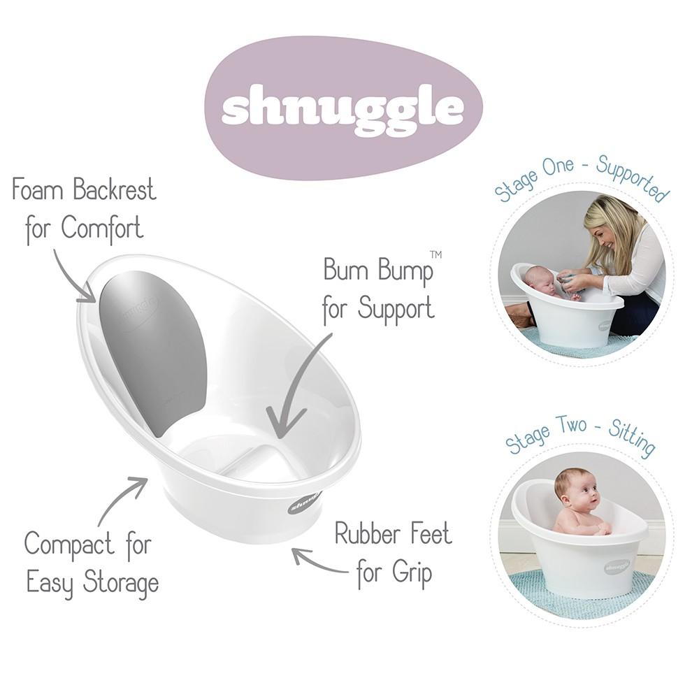 Shnuggle Bath Tub Navy With Grey Backrest