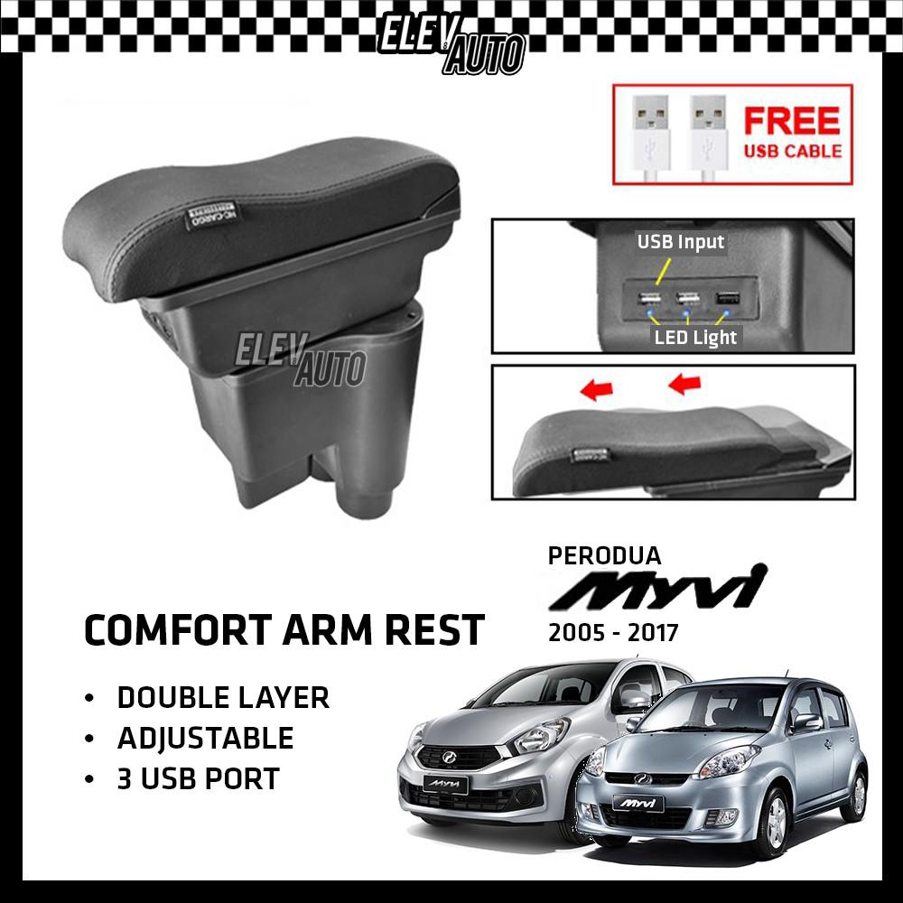 Perodua Myvi 2005-2017 Premium Leather Arm Rest ArmRest Double Layer Adjustable (3 USB)