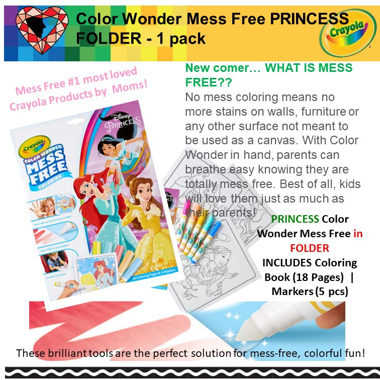 Local Seller (Ready Stock) :CRAYOLA Color Wonder Mess Free PRINCESS FOLDER  - 1 pack