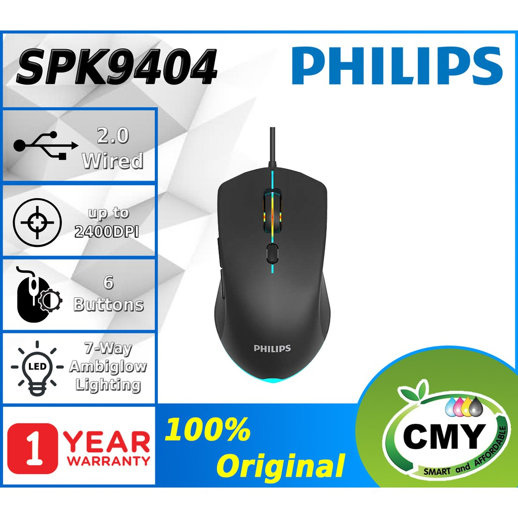 PHILIPS G404 SPK9404 - RAINBOW BACKLIT 6 BUTTONS - WIRED USB OPTICAL SENSOR MOUSE