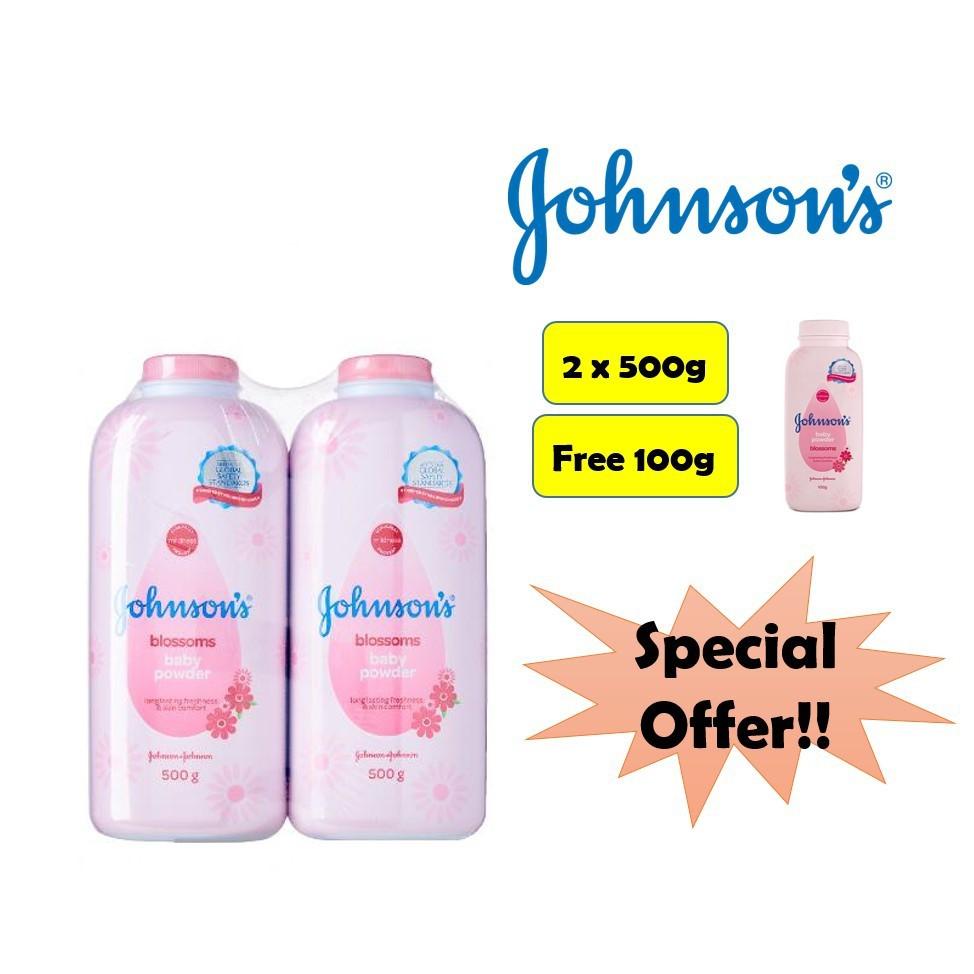 Johnson\'s Baby Powder Blossom 500g x 2 Free 100g