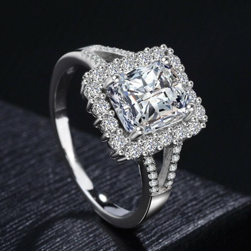 Princess Cut Green Emerald AAA Cz Band Women/'s 925 Silver Wedding Ring Size 6-10