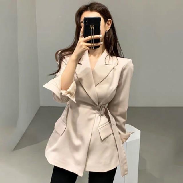 [Free Size]Korean elegant blazer 韩国春季气质优雅粉嫩翻领侧边系带收腰显瘦设计开衫西装外套