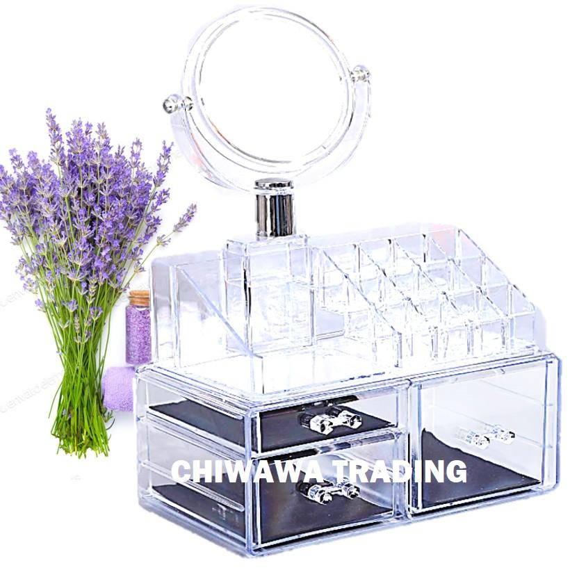 {FULL SET} 3 Layers Jewellery Organizer Cosmetic Makeup Box Rack + Mirror