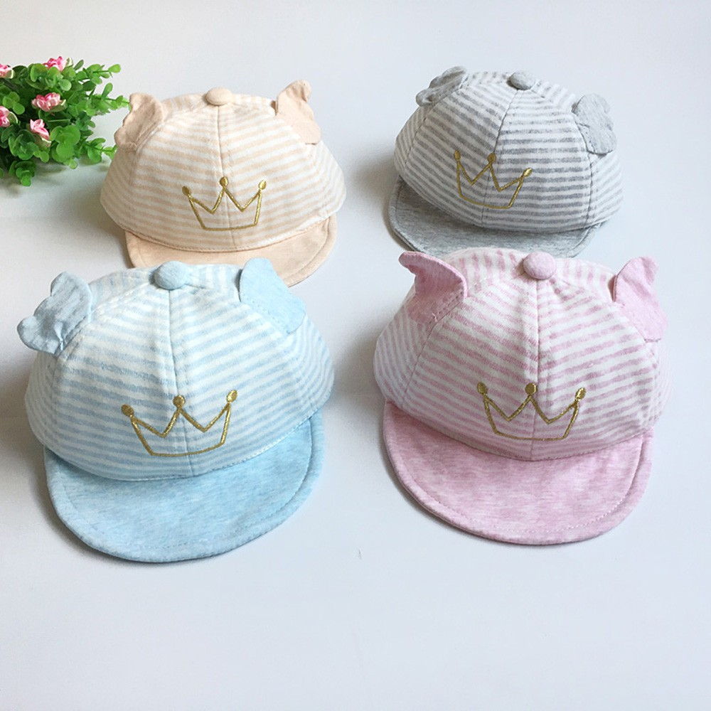 2a1828382c4 Baby Crown Striped Soft Brim Flanging Sun Hat Baseball Peaked Cap ...