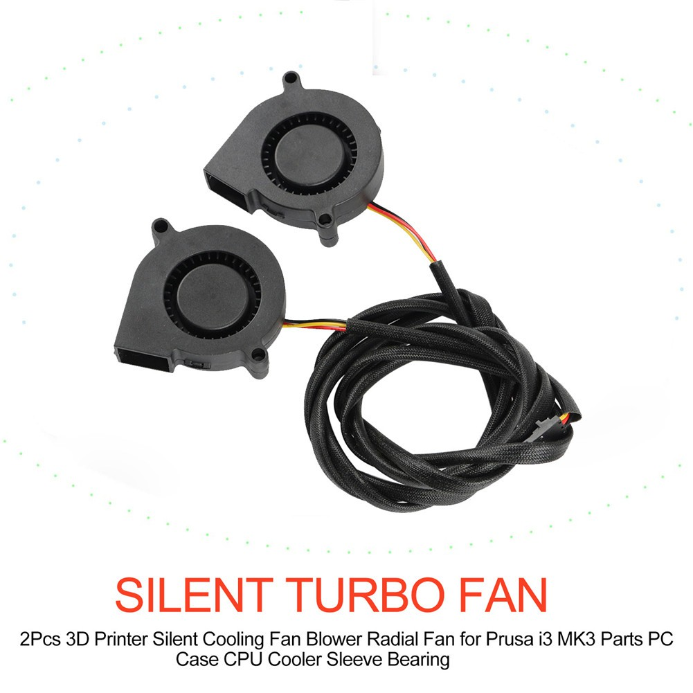 2Pcs 3D Printer Silent Cooling Fan Blower Radial Fan for Prusa i3 MK3 Parts  PC Case CPU Cooler Sleeve Bearing