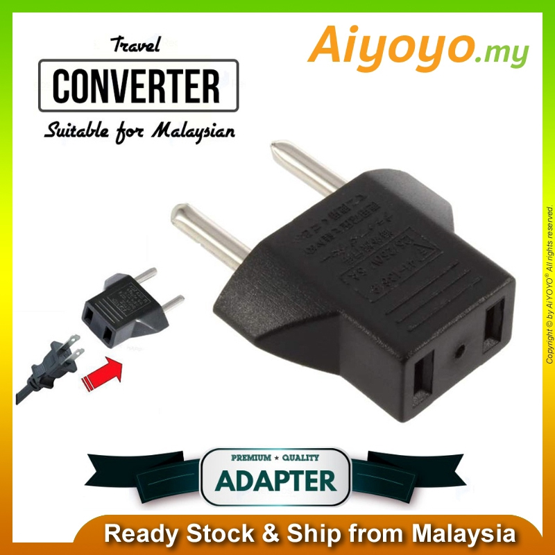 Universal 2 Pin Plug Socket Travel Adaptor US EU CHINA To Malaysia UK Converter